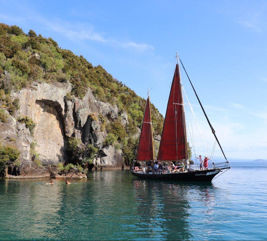 Taupo Sailing Adventures, Lake Taupo Cruises, Maori Rock Carvings