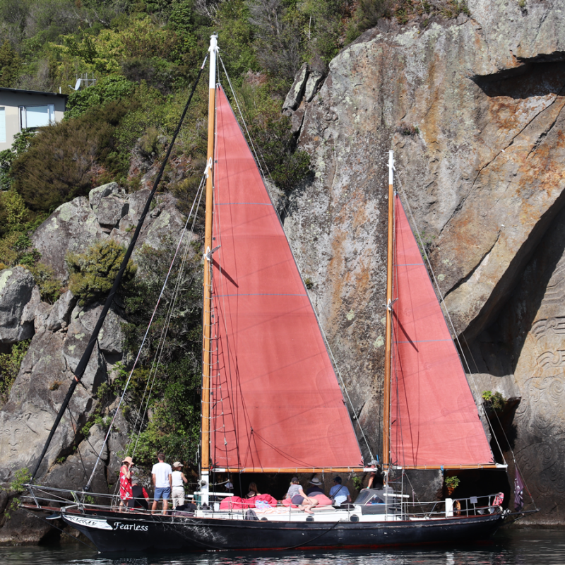 Taupo Sailing Adventures, Lake Taupo Cruises, Maori Rock Carvings